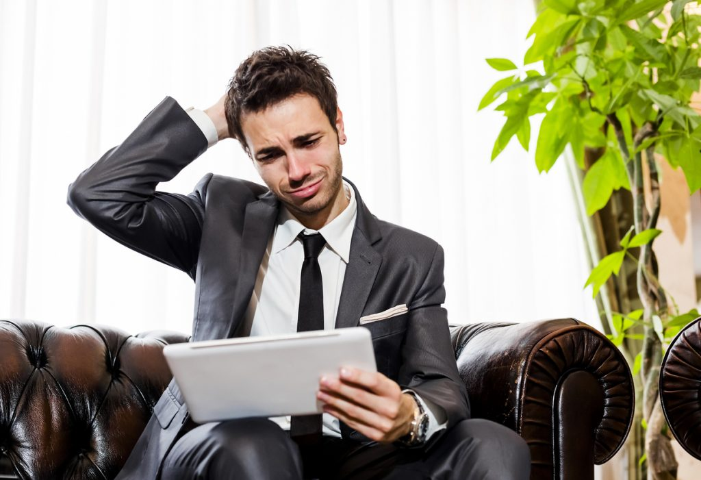 Frustrated businessman in need of IT support